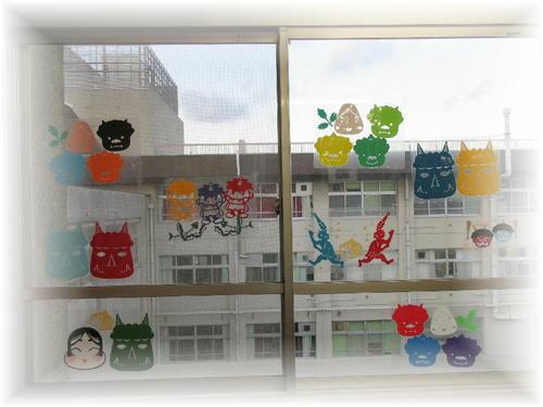 2019年2月の窓飾り(節分)