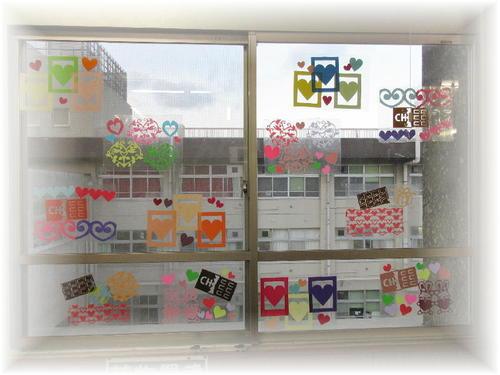 2019年2月の窓飾り(ハートとチョコレート)